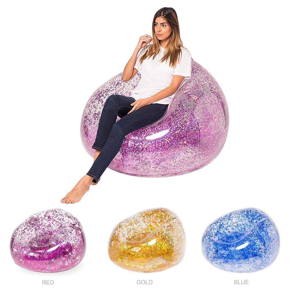 Sequins Inflatable Sofa Lounger Air Sofa Couch Cute Recliner Fashion Outdoor Cushion Bedroom Sofa Beach Chair Lazy Cute Comfortable Portable Sofa by puremood (Image #4)