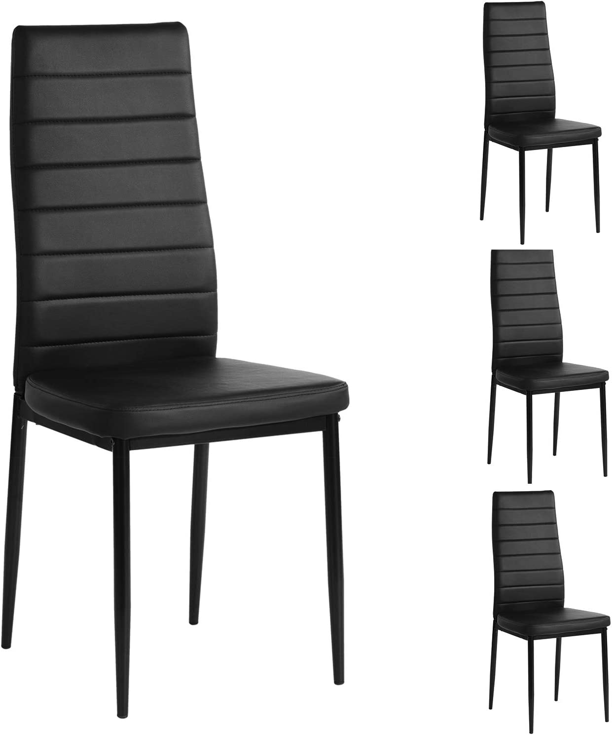 Amazon Com Aingoo Pu Leather Dining Chairs Set Of 4 Modern Kitchen Chair With Ergonomic Curved Back And Steel Frame Black Home Kitchen