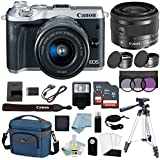 Canon EOS M6 Digital Camera (Silver) With EF-M 15–45mm f/3.5–6.3 IS STM Lens + Canon M6 Deluxe Accessory Bundle - M6 Canon Mirrorless Camera Includes EVERYTHING You Need To Get Started