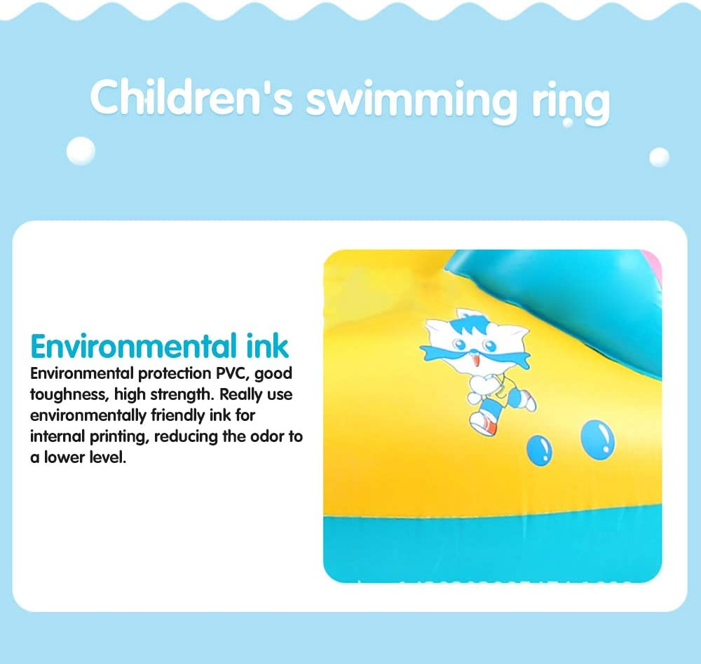 Yellow Luopei Inflatable Baby Pool Float with Horn Adjustable Sunshade Baby Swimming Ring Baby Seat Boat Yacht for Toddler Children
