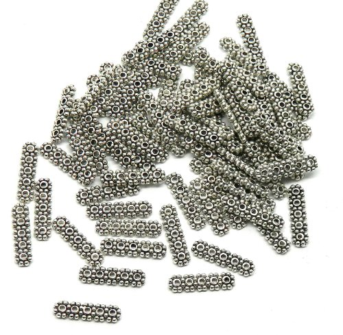 Rockin Beads Brand, 70 Milti 5 Strand Spacer Bar Beads 4x17mm Fits 3-4mm Beads Antiqued Silver Cast Zinc Metal Beads - Cast Metal Beads