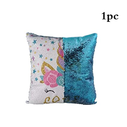 Unicorn Sequined Two-Color Pillowcase Sequins Mermaid Pillow Unicorn Case Throw Pillow Case Cushion Cover Decorative Color Change Pillowcase Sofa Bedroom Car Gifts Red