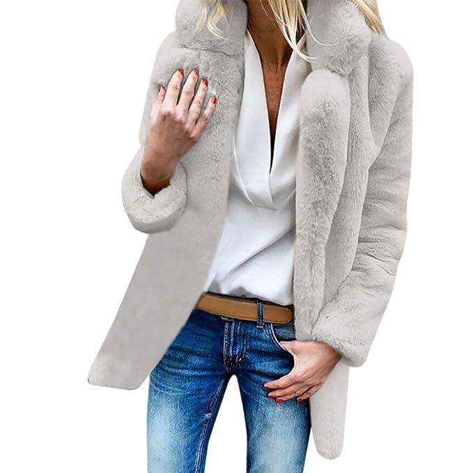 YIHANK 2019 - Abrigo de lana artificial para mujer: Amazon.es: Ropa y accesorios