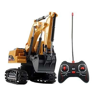 Foulon 1:24 Four-Wheel Drive Crawler Excavator Remote Control Educational Toy with Light Toy RC Vehicles : Baby