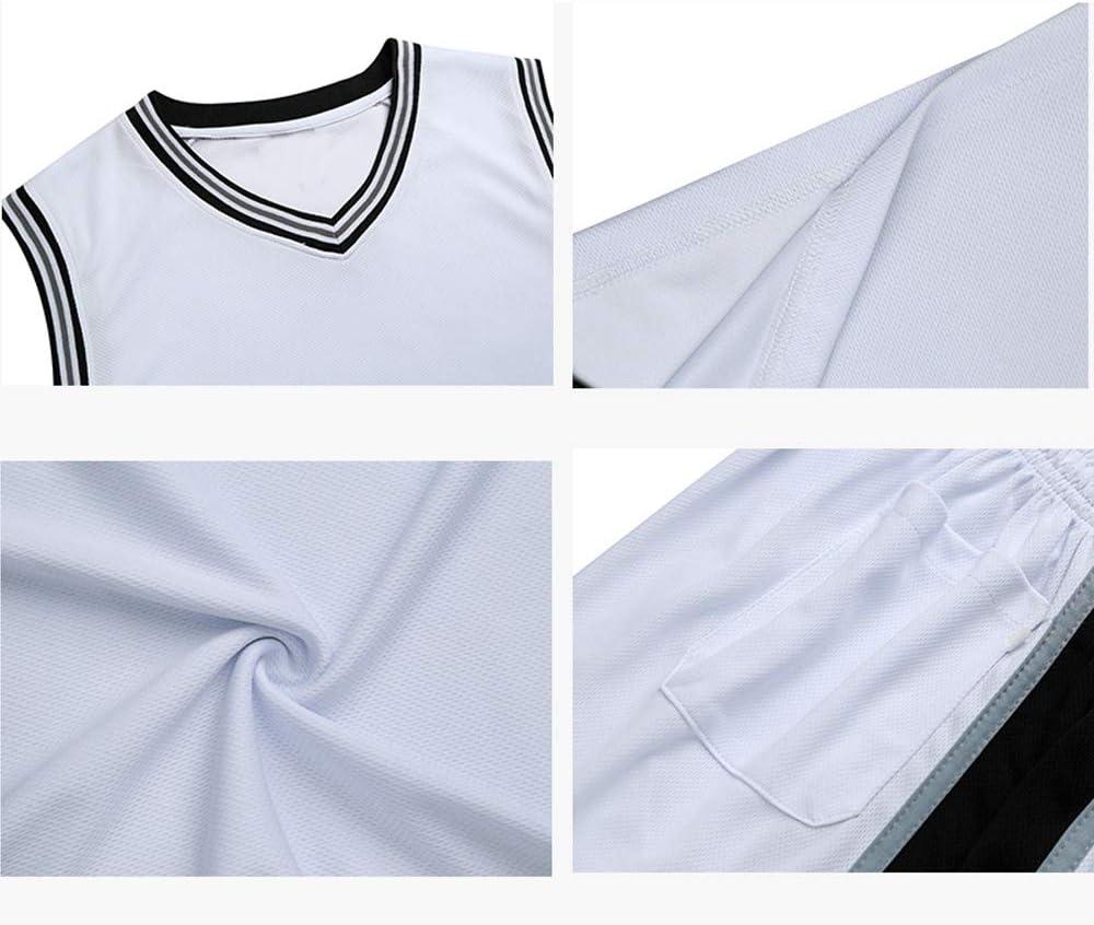 Conjunto sin Mangas Uniforme de Baloncesto para ni/ños y Camiseta de Traje de Canasta Unisex Letras Cosidas Camiseta de Hombre San Antonio Spurs Shorts de Jersey Kawhi Leonard # 2