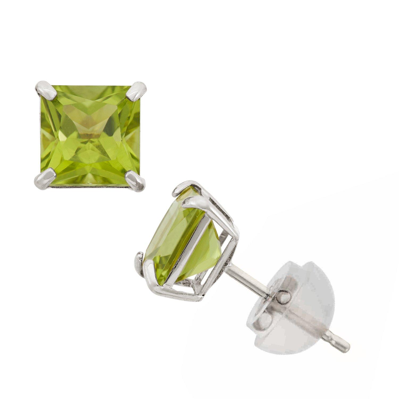 Peridot Princess Cut Stud Earrings in 10K White Gold, 6mm, Comfort Fit