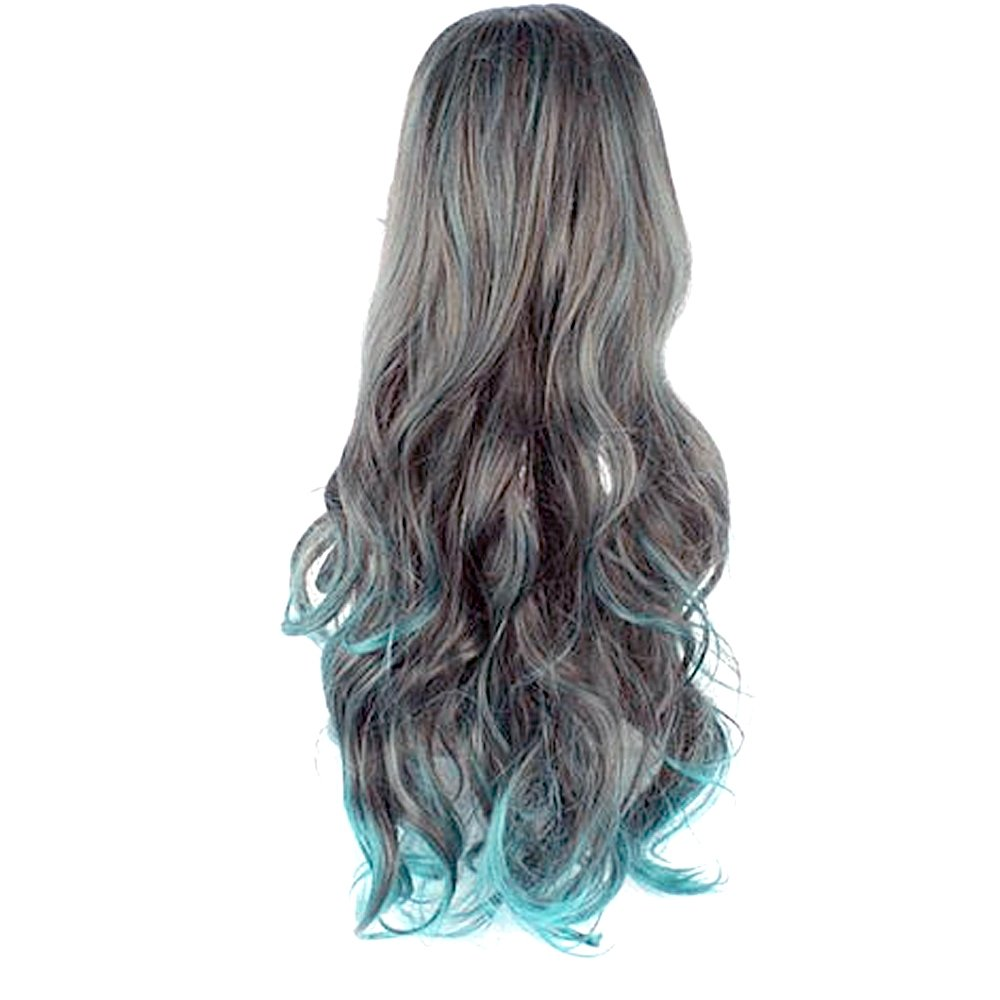Stitching Color Long Curly Wavy Hair Wigs for Cosplay Party Halloween Christmas Elisona