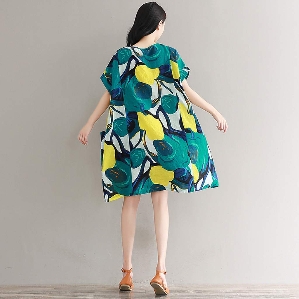 Sllve-hive 2019 New Womens Casual Short Sleeve Flower Printing O-Neck Loose Pockets Knee-Length Maxi Dresses