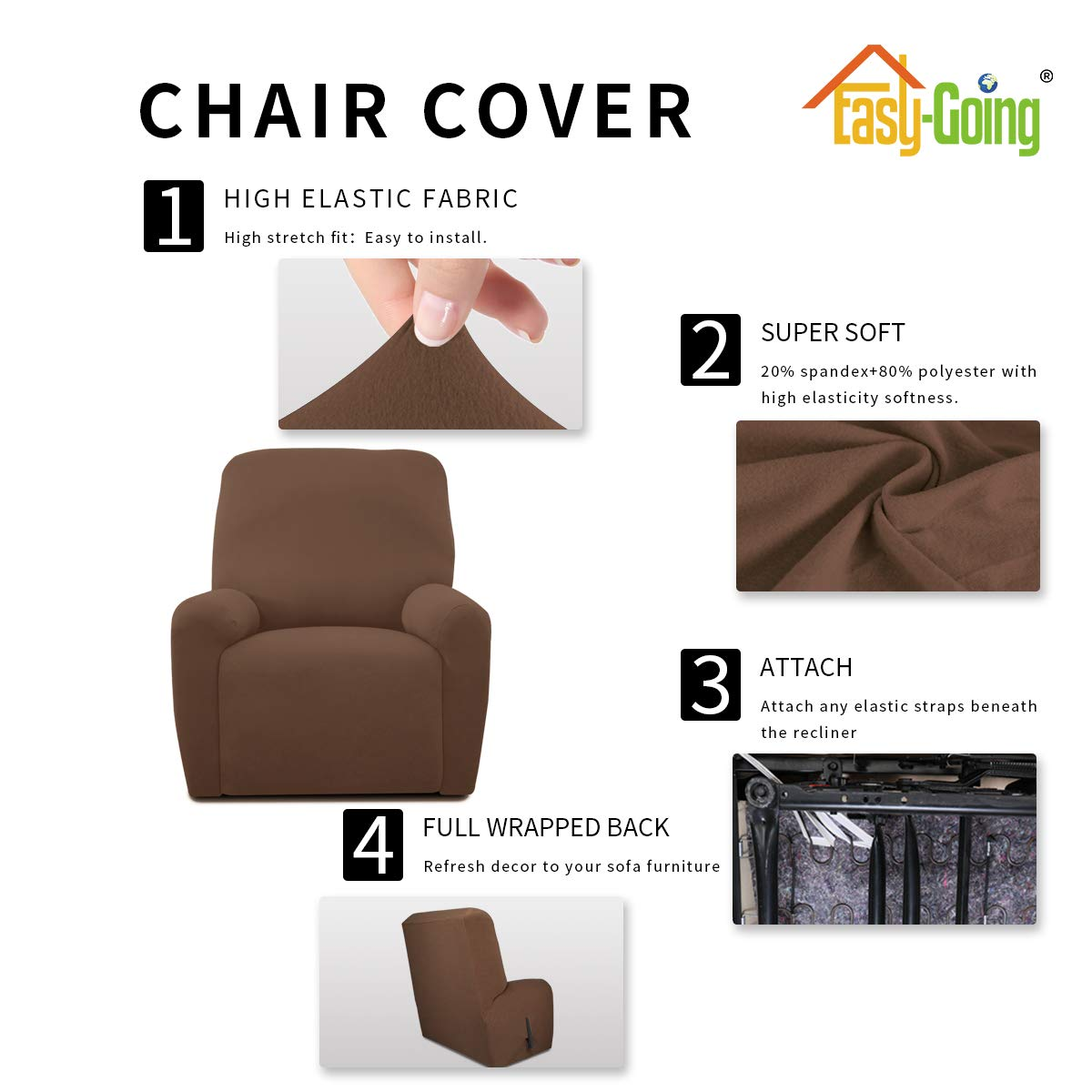 Recliner, Light Gray Spandex Soft Fitted Sofa Couch Cover Easy-Going 4 Pieces Microfiber Stretch Recliner Slipcover Washable Furniture Protector with Elastic Bottom for Kids,Pet