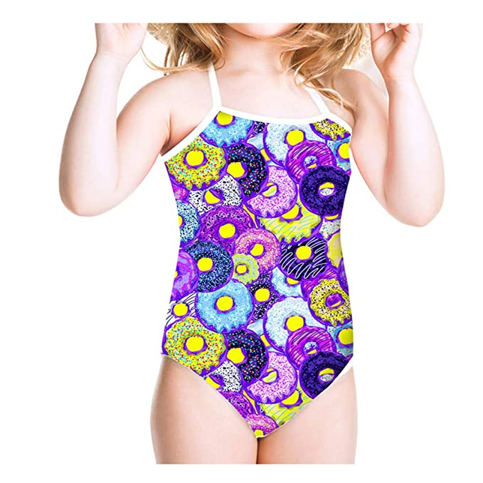 2129f16799 CASILY Doughnuts Pattern Girls Swimsuit One-Piece Bathing Suit Haltered  Swimwear Cute Beach Suit for