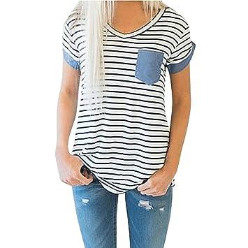 Yeamile💋💝 Camiseta de Mujer Tops Negro Blusa de Verano Ocasionales Moda Tops de Manga Corta a Rayas Blusa Suelto Ropa de Dormir Camiseta (Blanco, ...