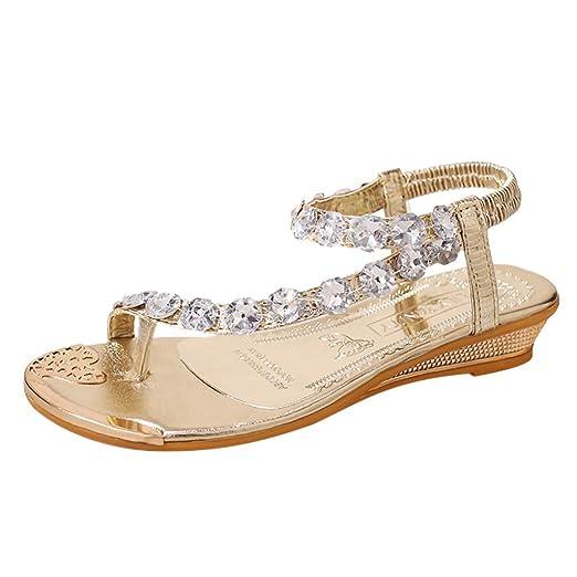 9cb1681fee5 Amazon.com  Lurryly Retro Womens Fashion Bohemia Crystal Wedges Flats Shoes  Open-Toed Rome Sandals  Clothing