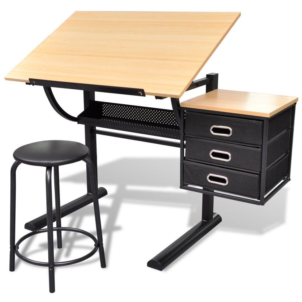 Festnight - Set Scrivania inclinabile regolabile con due cassetti tavolo da disegno con sgabello da Ufficio Studio