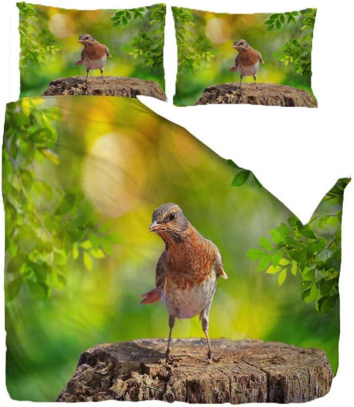 HANTAODG Juego de Ropa de Cama con Funda de edredón,Estampado,Sábana encimera Poliéster Pájaro en tocón de árbol 200X200cm