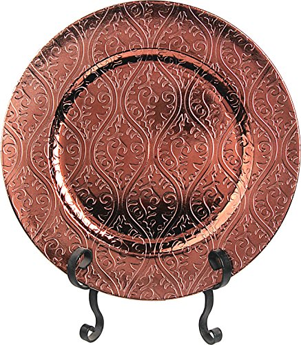 """Fantastic:) Special Design and Metal Finishing 13""""x13"""" Round Charger Plates (Set of 6, Copper)"""