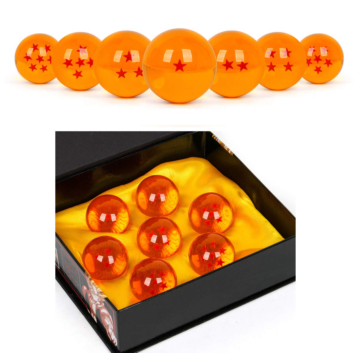 WeizhaonanCos Unisex Acrylic Resin Transparent Stars Balls Glass Ball Dragon Ball Cosplay Props Kids Play Toy Gift Set of 7pcs 43mm/1.7 in in Diameter (Orange) by WeizhaonanCos (Image #1)