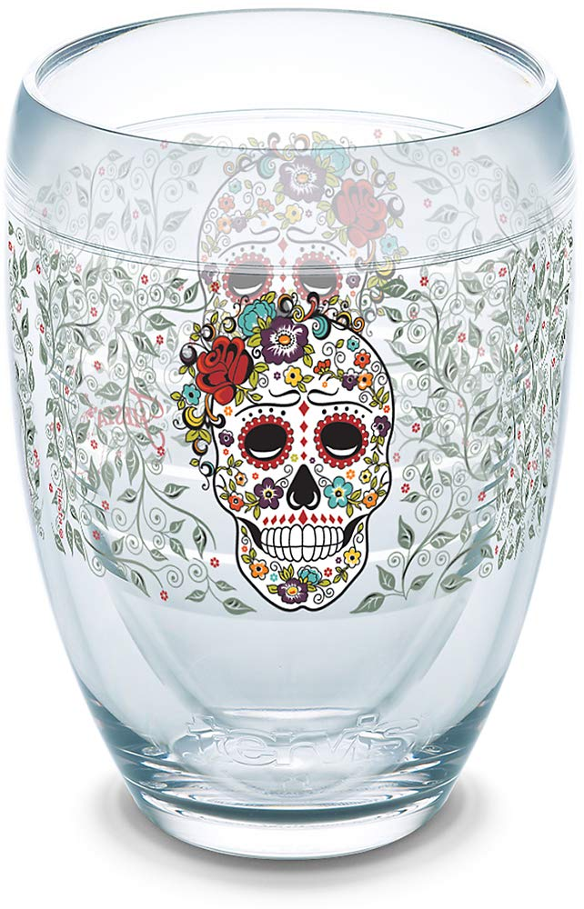 Tervis 1306156 Fiesta - Skull and Flowers Insulated Tumbler with Wrap, 9 oz Stemless Wine Glass, Clear