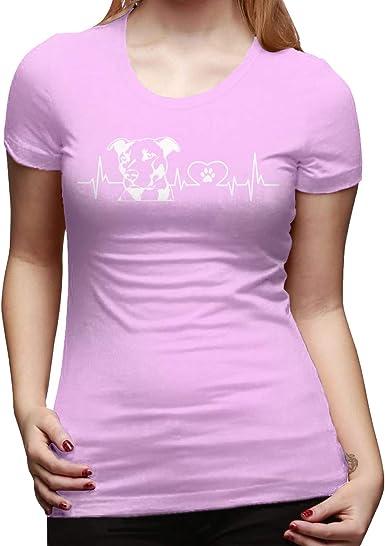 Perro Pit Bull Heartbeat Camiseta de Manga Corta de Corte clásico para Mujer Camisetas básicas de Manga Corta Camisetas con Cuello Redondo: Amazon.es: Ropa y accesorios