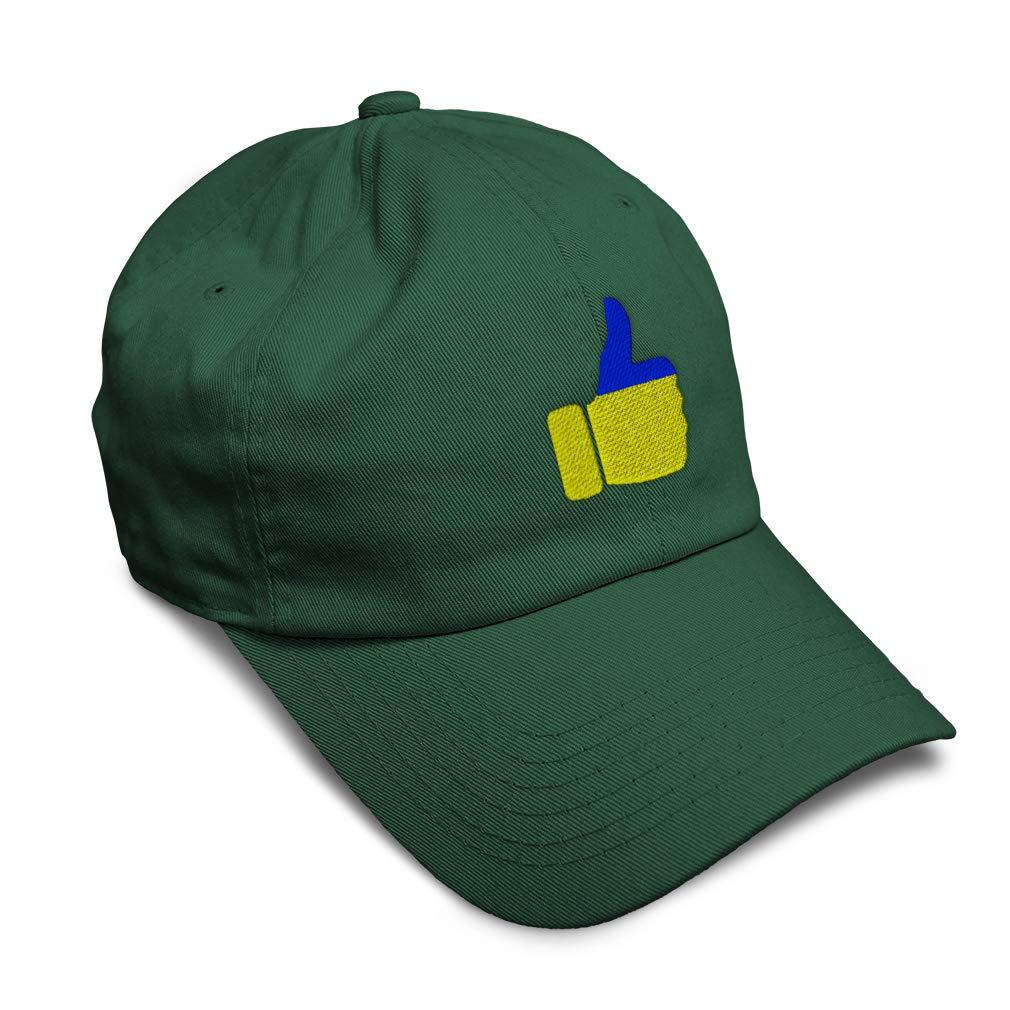 Custom Soft Baseball Cap Ukraine Flag Thumbs up Embroidery Twill Cotton