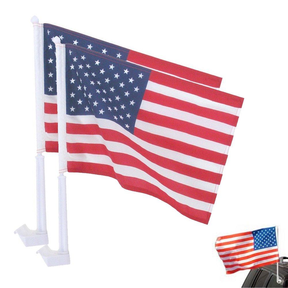 Bulk Wholesale Supplies Patriotic American USA Car Window Flags 18 x 12 - Pair (2-Pack) Bulk Wholesale Supplies TM