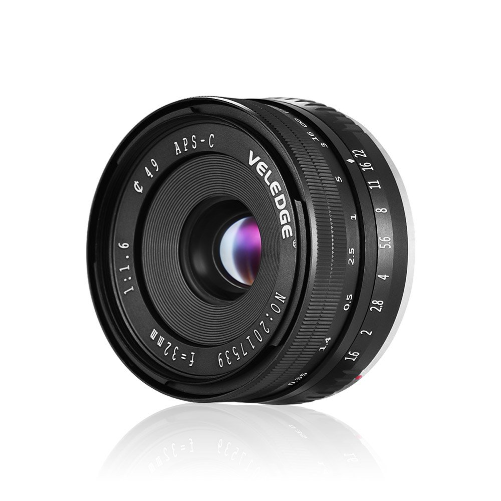 Andoer VELEDGE 32mm F/1.6 Large Aperture Manual Focus Lens APS-C for Sony E-Mount Digital Mirrorless Cameras NEX 3/ NEX 3N/ NEX 5/ NEX 5T/ NEX 5R/ NEX 6/ NEX 7/ A5000/ A5100/ A6000/ A6100/ A6300