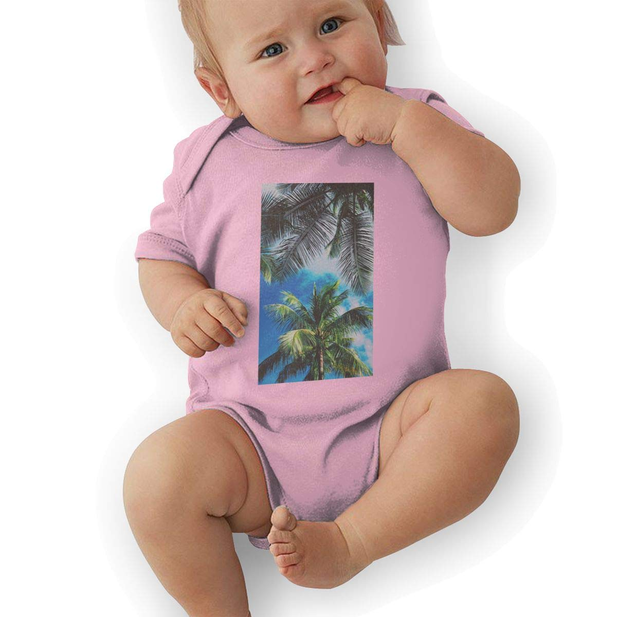 Infant Baby Girls Bodysuit Short-Sleeve Onesie Trippy Botany Print Rompers Autumn Pajamas