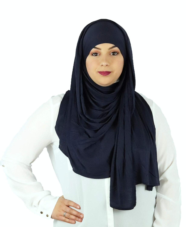Hijab Kopftuch Halstuch f/ür Damen I Kopfbedeckung 80 x 180 cm I Muslim Gesichtsschleier Haartuch Pashmina SAFIYA Turban I Jersey Islamische Schal