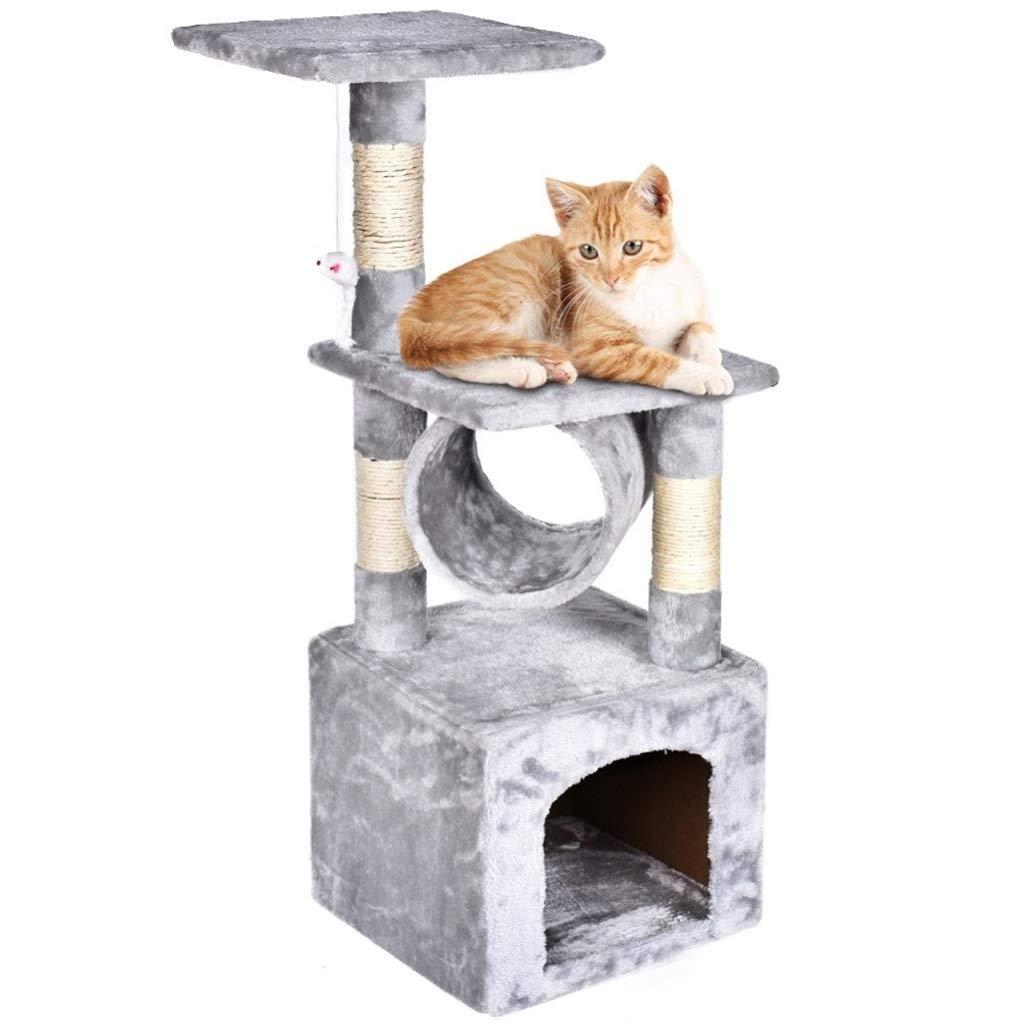 NYDZDM Casa del Gioco del Gattino dell'animale Domestico di Scratch della mobilia del condominio della Torre dell'albero di Gatto (colore   Light grigio)