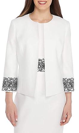 3a978f58dd2 Amazon.com  Kasper Women s Petite Embroidery Cuff Jacket  Clothing