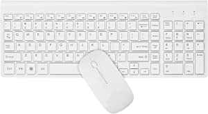 HAIBING Wireless Keyboard and Mouse Combo, Compact Full-Sized 2.4GHz Ultra Slim Wireless Keyboard with Number Pad and Power-Saving Mouse for Windows 10, Laptop, PC, Computer, Desktop