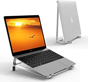 Supmega Laptop Stand for Desk, 2 in 1 Design Aluminum Vertical Stand Holder Compatible with MacBook Air Pro, Surface, Dell XPS and Other 10-17 inch Laptop Computer Ventilated Riser (Silver)