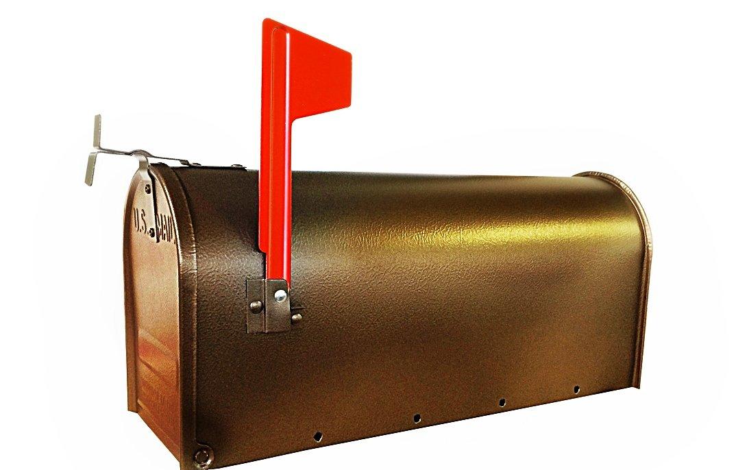 Fulton 1C-BRN Standard Post Mount Steel Mailbox, Oil Rubbed Bronze - 6-7/8''W x 8-3/4'' H x 18-3/4''