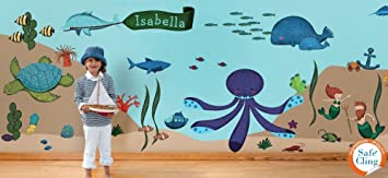 Good My Wonderful Walls Ocean Wall Stickers For Under The Sea Theme Wall Mural  For Kids Room Part 27