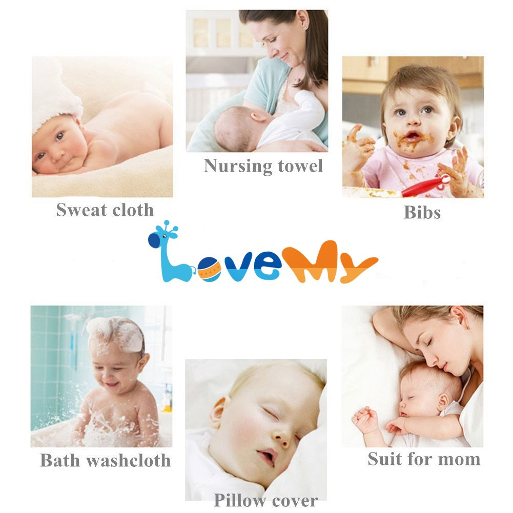 Baby Muslin Washcloths - Reusable Cotton Baby Wipes,Soft and Absorbent,Newborn Cotton Gauze Towels for Baby Sensitive Skin - Muslin Warm Baby Bath Towels for Shower Gift,6-Pack 13x13 inches by LOVE MY (Image #7)