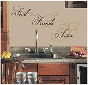 Anglewings Vinly Art Decal Words Quotes Good Food Good Friends Good Times for Kitchen Dining Room