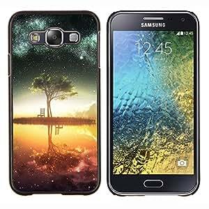 Qstar Arte & diseño plástico duro Fundas Cover Cubre Hard Case Cover para Samsung Galaxy E5 E500 (Galaxy Árbol)