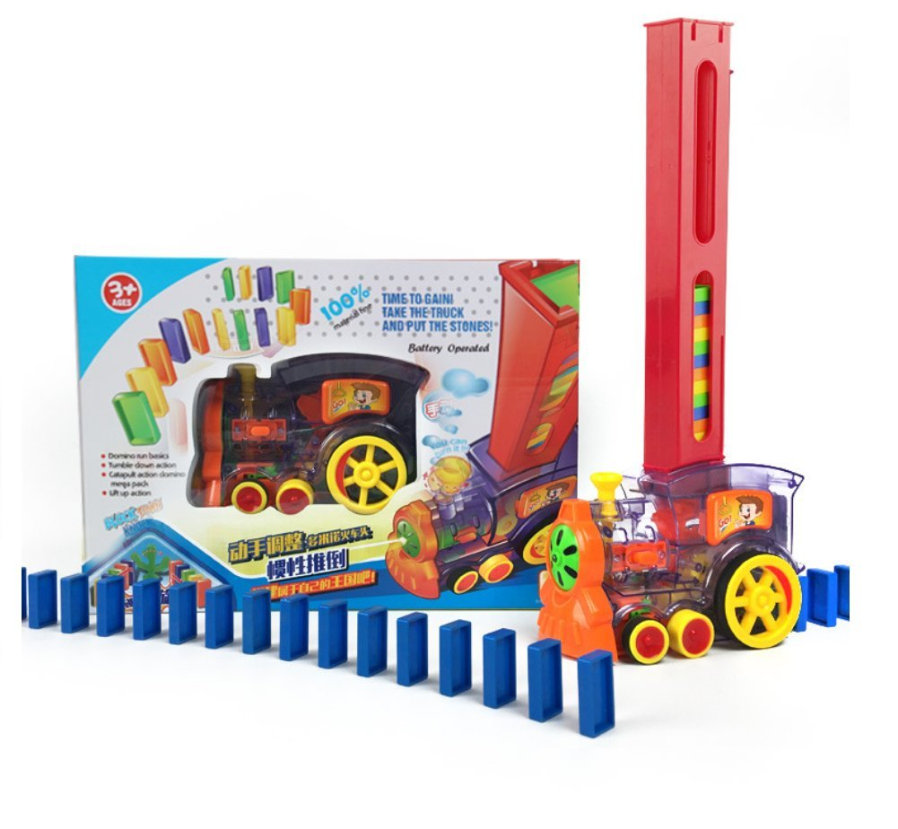 Electric Train Educational Engineering Toy Set for for Ages 3 and up Red Automatically Load Dominoes