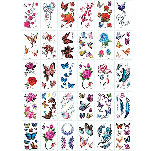 Yesallwas 30 Sheets cute Temporary Tattoo Sticker Fake Tattoos for Women Girls Models,Waterproof Long Lasting Body Art Makeup Sexy Realistic Tattoos -Butterfly, Rose, Flowers