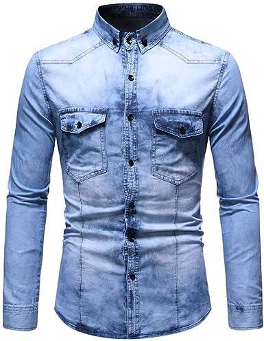 Camisa Vaquera de Manga Larga para Hombre Abrigo Fino de Mezclilla Shirt Casual Solapa Slim fit Superior cómodo Top Hombres Camisas Denim con Bolsillos: Amazon.es: Ropa y accesorios