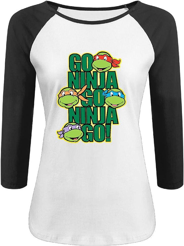 Duola Women's 3/4 Sleeve Raglan Tees Turtles Black