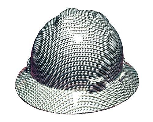 (Izzo Graphics Black and Silver Carbon Fiber MSA V-Guard Full Brim Hard Hat)
