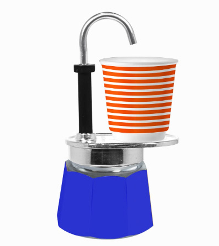 Bialetti - Mini Express Espresso Maker 1 Cup Blue & 1 Bicchierini Pop Coffee Cup 0005740