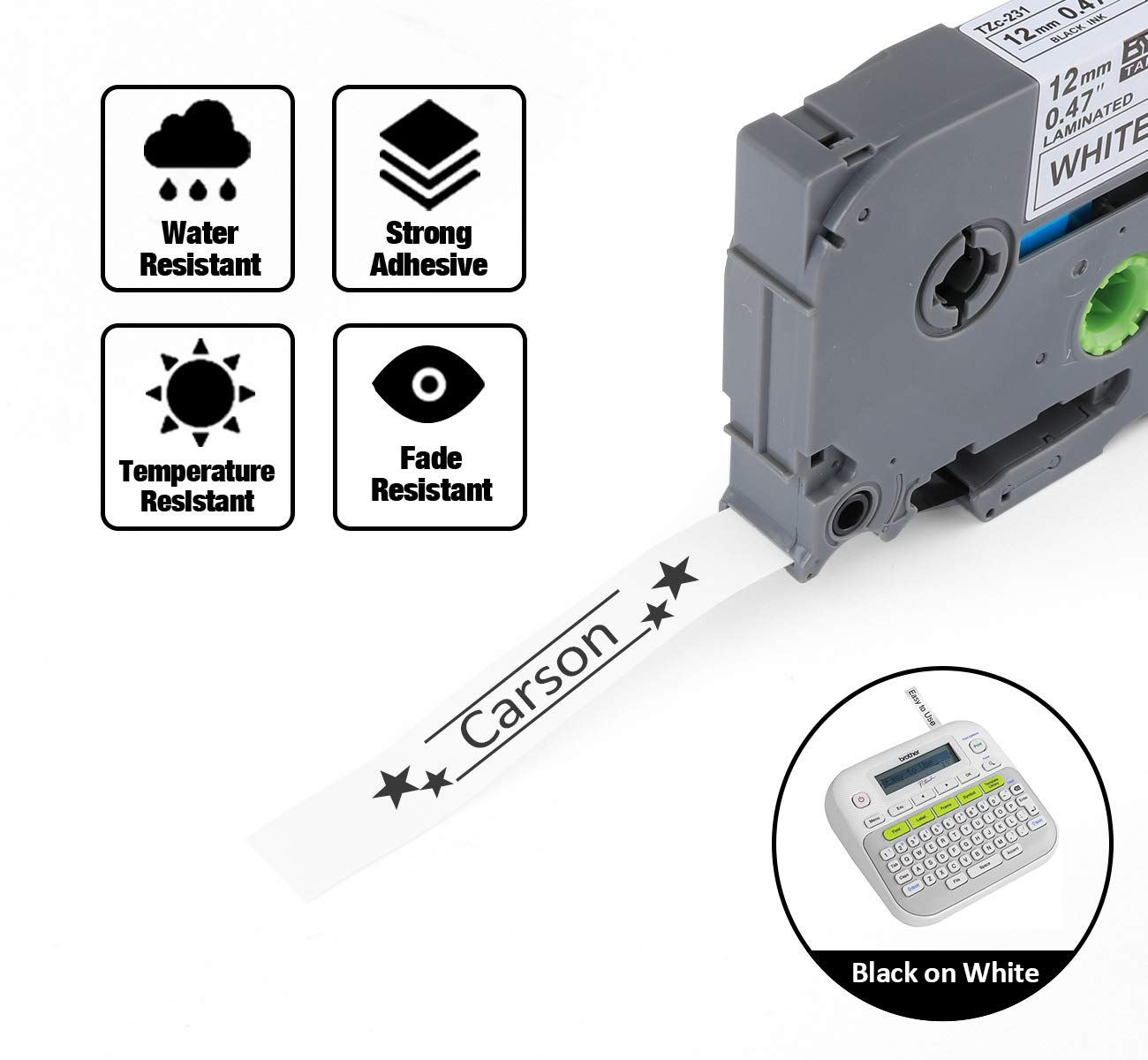 compatible con Brother P-Touch para etiquetas PT-E100 D210 P300BT 1010 4 cintas de etiquetas para etiquetadora negra sobre blanco 110CH y 1230PC D200 H100 PT-E200 1090 12 mm x 8 m