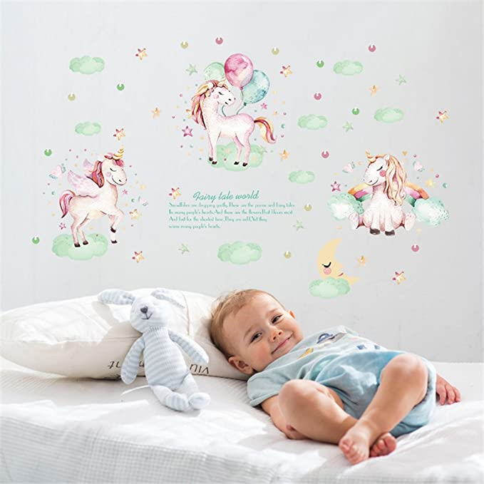 Amazon Com Moonlight Studio Ml Peel And Stick Wallpaper Unicorns For Baby Room Decor Removable Pink Floral With Blue Clouds Wall Sticker Decals For Kids Party Nuresy Bedroom Decor Camera Photo