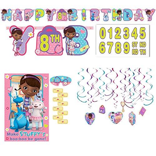 Amscan Doc Mcstuffins Decoration and Party Game Supply Pack: Hanging Swirl Decorations, Banner, and Party Game