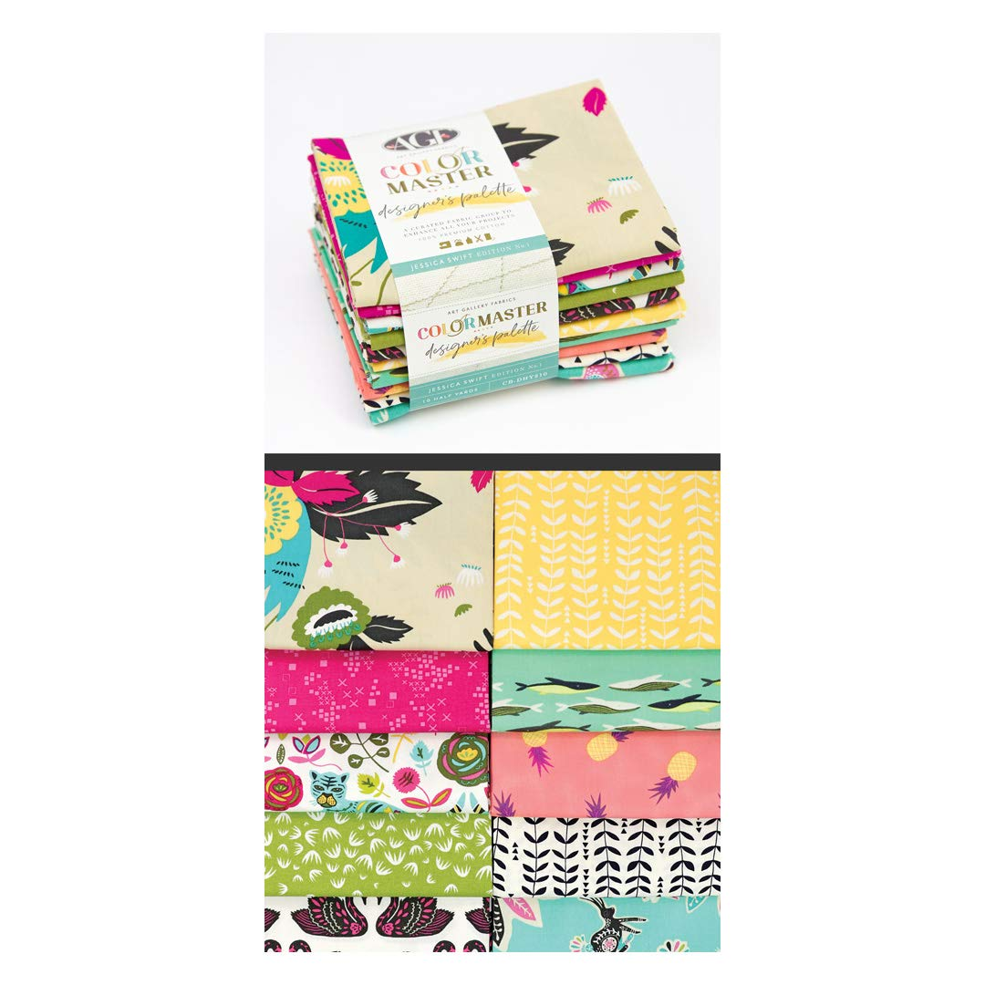 Art Gallery Fabrics Art Gallery Color Master Designers Palette Half Yard Bundles 10 Pcs Jessica Swift Edition No.1 Fabric, 1, Multi