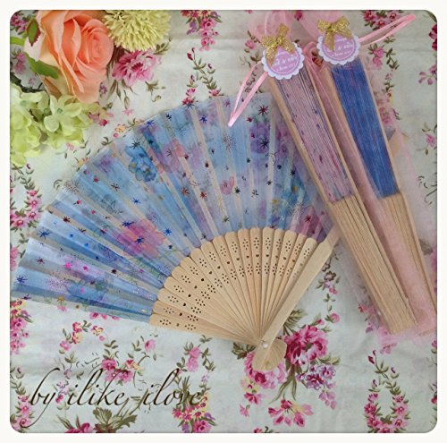 Wood Fan Hand 24 pcs Fans Outdoor Wedding Party Favors Gifts mixed colors