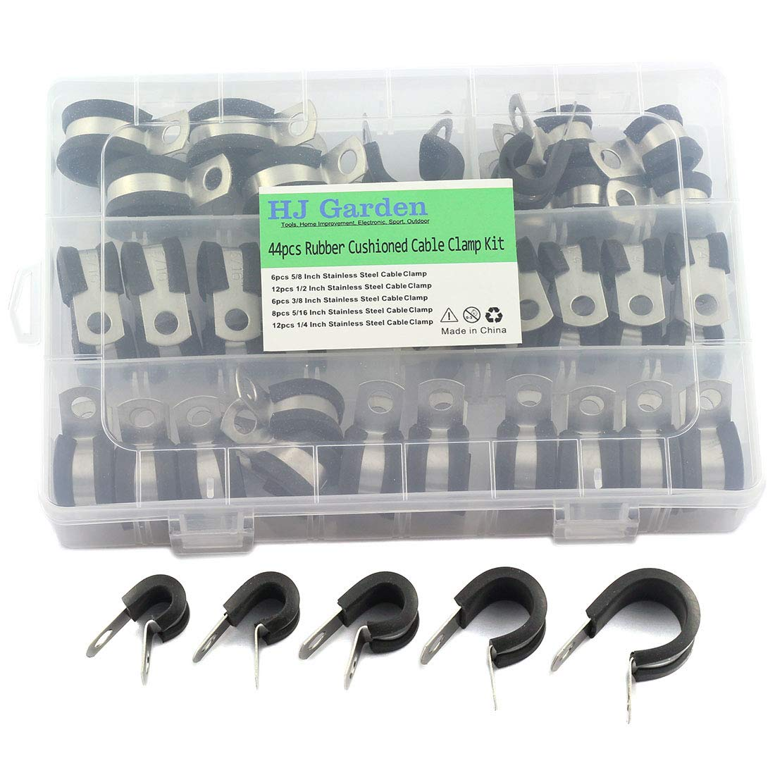 HJ Garden 44pcs Rubber Cushioned Cable Clamp Assorted Kit 304 Stainless Steel Hose Clamp/R Shape Metal Clamp/Tube/Pipe/Wire Holder Fastener 5 Size - 5/8, 1/2, 3/8, 5/16, 1/4 inch