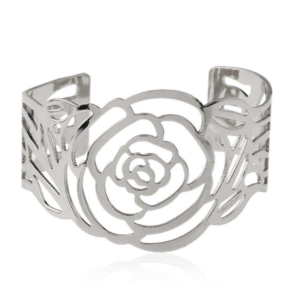Fashion Women Metal Opening Rose Hollow Cuff Bracelet Bangle Wrist Band Jewelry
