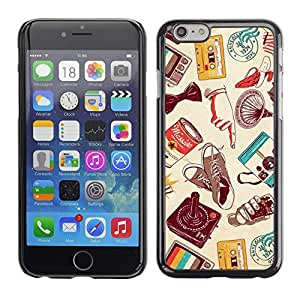 Planetar® ( Modern Art Cassette Retro Technology ) Apple iPhone 6(4.7 inches) Fundas Cover Cubre Hard Case Cover